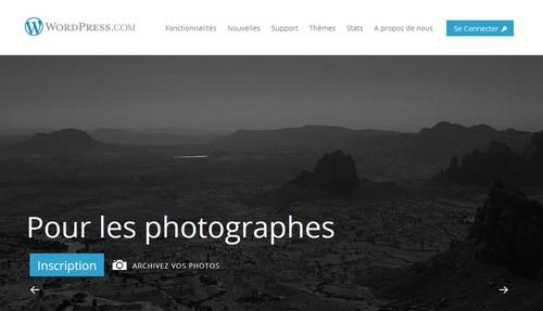 Wordress.com propose des modèles de blog adaptés aux photographes